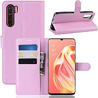 Чехол-книжка Litchie Wallet для Oppo Reno 3 / A91 Pink