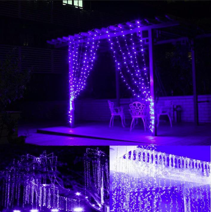 Гирлянда уличная Штора Alphatrade 2*2 м, 360 диодов, прозрачный провод, цвет синий, с мерцанием flash, +