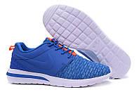 Кроссовки мужские беговые Nike Roshe Run Flyknit (найк роше ран) синие 45