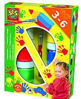 Краски детские пальчиковые (6 цветов,кисточка) Ses