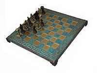 Шахматы Manopoulos Спартанский воин латунь в деревянном футляре 28х28 см Бирюзовые