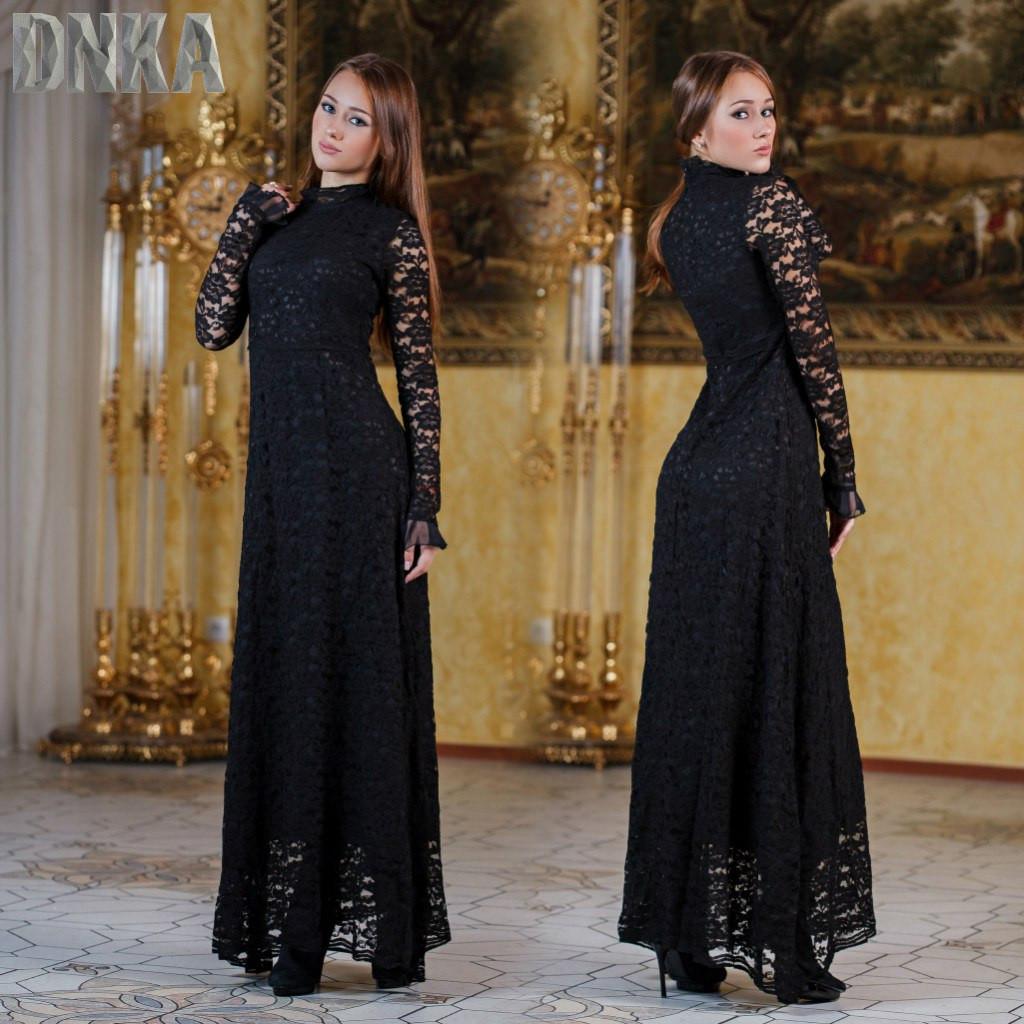 Платье в пол гипюр змейка на сипне