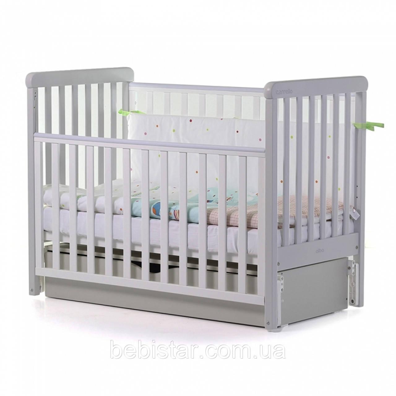 Детская кровать маятник с ящиком белая с серым от рождения до 3 лет Carrello Alba White