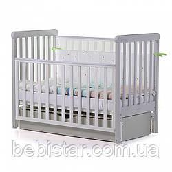 Детская кровать маятник сящиком белая с серым от рождения до 3 лет Carrello Alba White