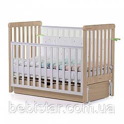 Детская кровать маятник сящиком бежевая от рождения до 3 лет Carrello Alba White-Beige