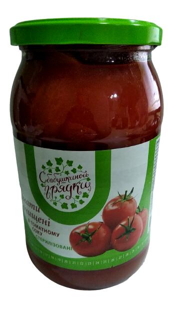 """Томати очищені в томатному соку стерелізовані """"С бабушкиной грядки"""" 850 мл"""