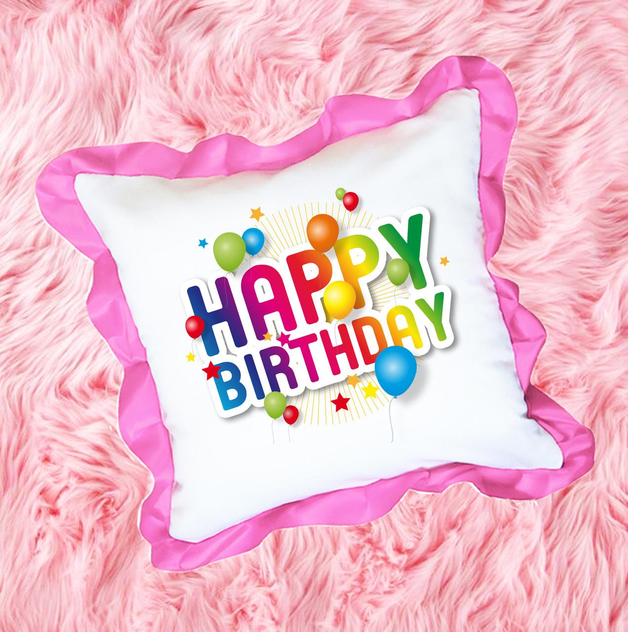 Подушка атласная с принтом, подарок на день рождение