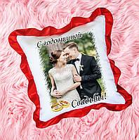 Подушка атласная с фото, подарок на годовщину свадьбы. Декоративные подушки
