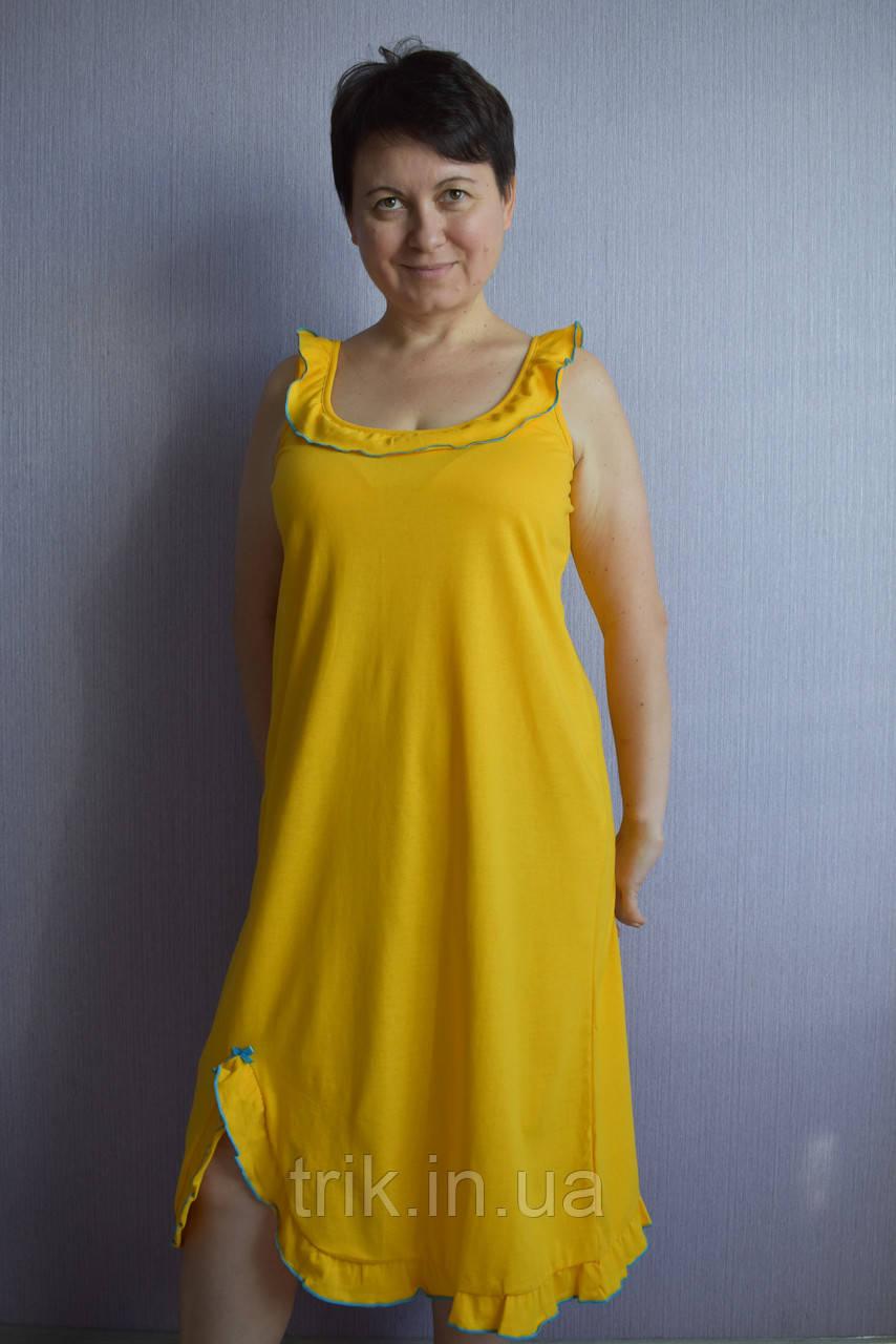 Ночнушка сарафан желтая Анжелика голубая опековка