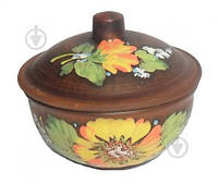 Горшок для запекания глиняный Подсолнух d15 см Український гончарний посуд