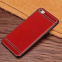 Чехол Fiji Litchi для Apple Iphone 6 / 6S силикон бампер с рифленой текстурой красный