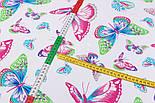 Лоскут ткани №762с розово-голубыми бабочками, размером 39*78 см, фото 2