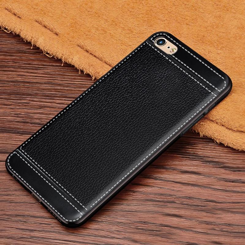 Чохол Fiji Litchi для Apple Iphone 6 Plus / 6S Plus силікон бампер з рельєфною текстурою чорний