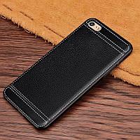 Чехол Fiji Litchi для Apple Iphone 6 Plus / 6S Plus силикон бампер с рифленой текстурой черный