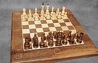 Набор настольных игор 3 в 1, шахматы+шашки+нарды, ручная резьба, фото 1