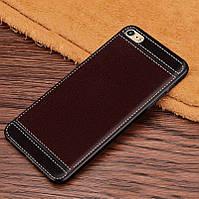 Чехол Fiji Litchi для Apple Iphone 6 Plus / 6S Plus силикон бампер с рифленой текстурой темно-коричневый