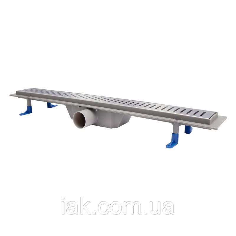 Трап линейный Qtap Dry FA304-700 с нержавеющей решеткой 700х73