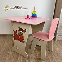 Детский стол и стул! Столик парта , рисунок оленёнок и стульчик детский зверюшка