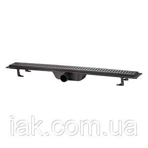 Трап линейный Qtap Dry FF304-900MBLA с нержавеющей решеткой 900х73