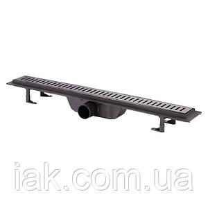 Трап линейный Qtap Dry FF304-700MBLA с нержавеющей решеткой 700х73