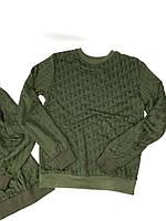 Свитшот Dior зеленый Мужской свитер Диор с логотипами Кофта мужская Диор теплая