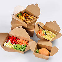 Коробка бумажная для еды на вынос L 29*26*5.5cм крафт