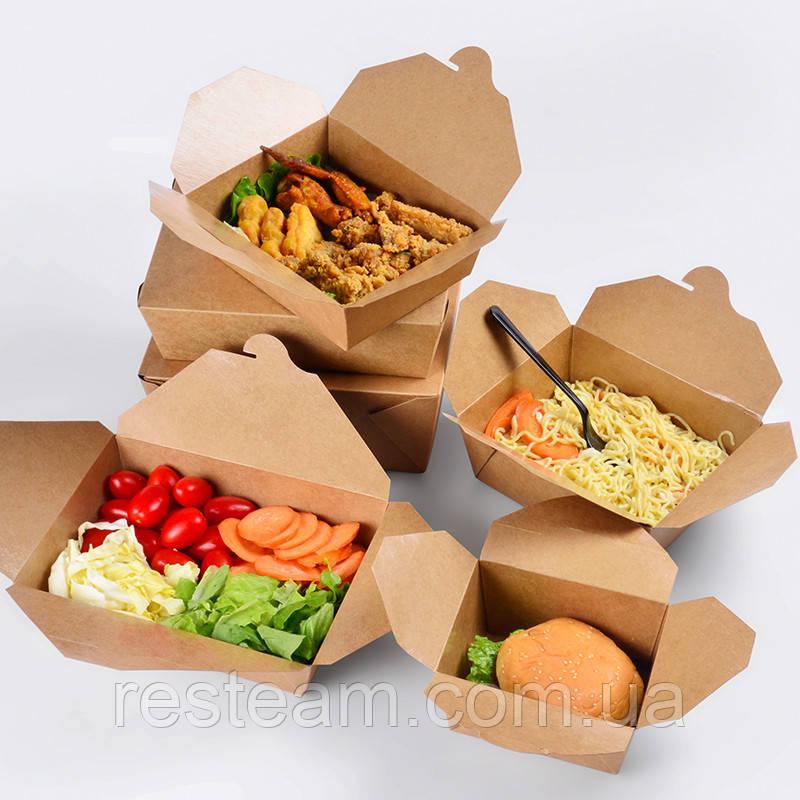 Паперова Коробка для їжі на винос S 15.5*11*5.5 см крафт 20шт/уп