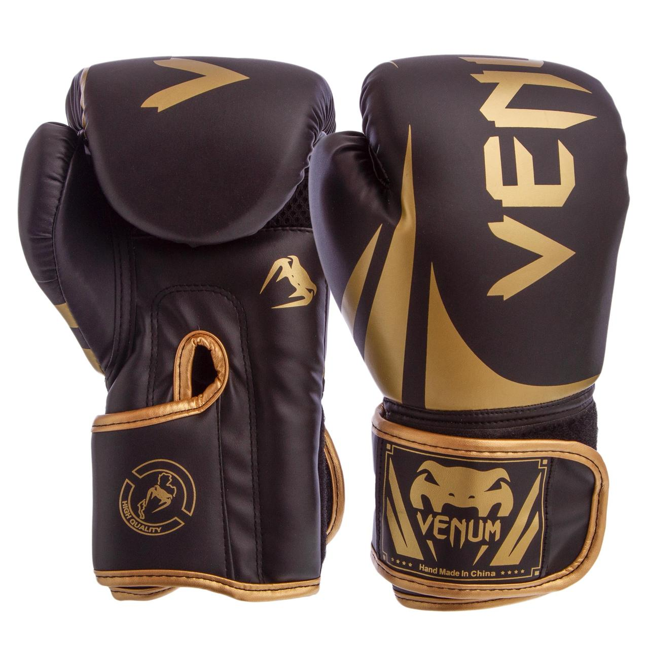 Тренировочные боксерские перчатки Venum PU черные (10oz, 12oz)
