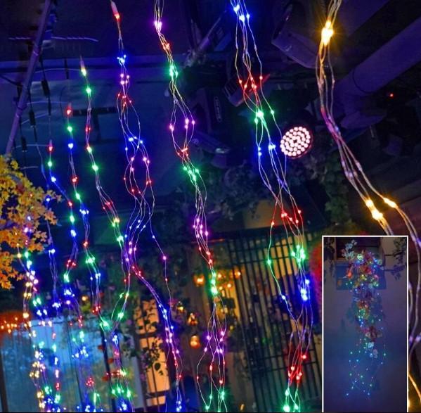 Электрическая гирлянда Пучок роса  240 LED 10 линий по 2.4 м, мульти