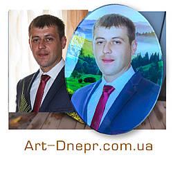 Цветной портрет на овале стекло 300х400мм