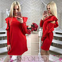 Платье трапеция с воланом на рукаве, фото 2