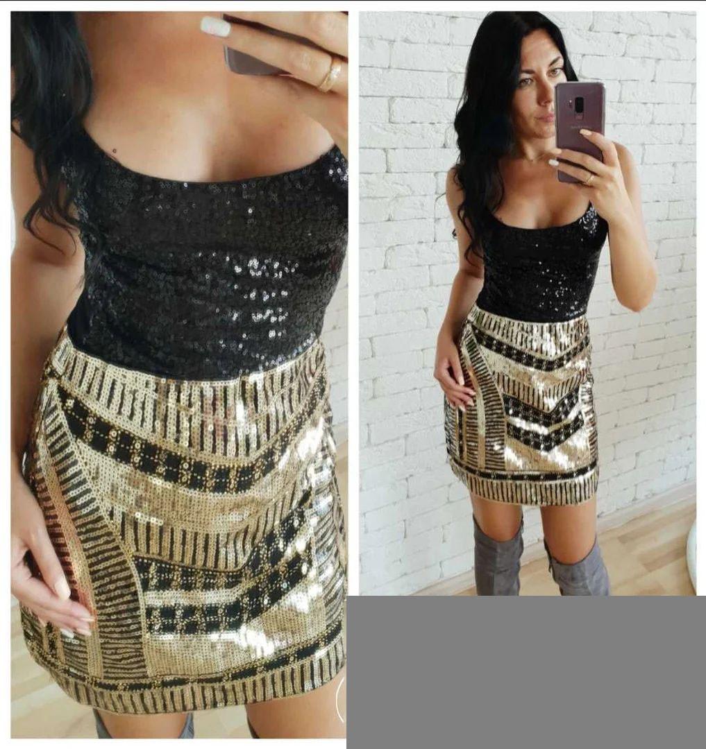 Нарядная юбка мини с пайетками золото