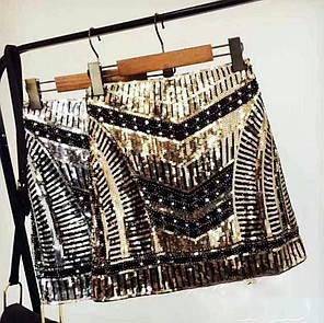 Нарядная юбка мини с пайетками золото, фото 2