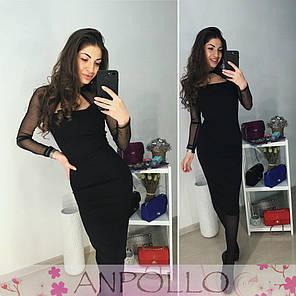 Платье обтягивающее с декольте и сеткой сверху , фото 2