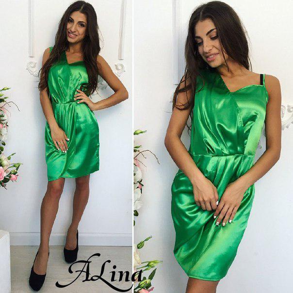 Платье элегантное мини стрейч атлас