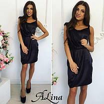 Елегантне плаття міні стрейч атлас, фото 2