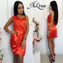 Платье элегантное мини стрейч атлас, фото 3