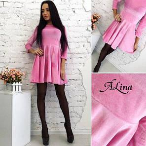 Платье розовое бархатное клёш, фото 2