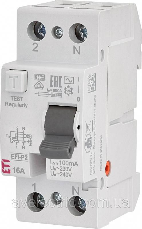 ETI, 2061210, Реле дифференциальное (УЗО) 2р EFI-P2 16/0, 03 тип AC (10kA)