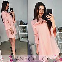 Платье с рюшками свободного кроя под пояс, фото 2