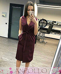 Сукня офісне без рукавів, з кишенями та поясом