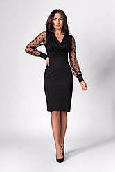 Женское праздничное платье мини ,ткань трикотаж Аванте, р. 42,44,46( 1283.1) черное,сукня