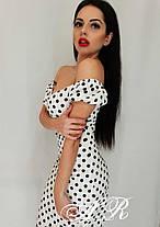 Платье притал в горошек с открытыми плечами, фото 2