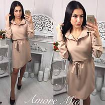 Платье рубашка с поясом и воротником манжет на пуговице, фото 2