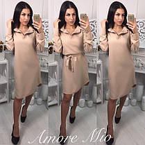 Платье рубашка с поясом и воротником манжет на пуговице, фото 3