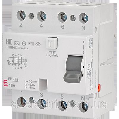ETI, 2061612, Реле дифференциальное (УЗО) 4р EFI-P4 40/0, 03 тип AC (10kA)