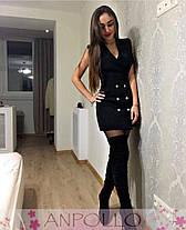 Платье офисное на запах с декольте и пуговицами, фото 2