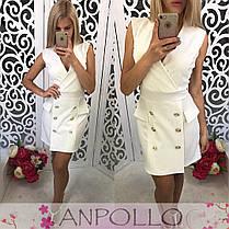 Платье офисное на запах с декольте и пуговицами, фото 3
