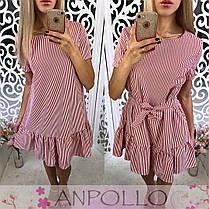 Хлопковое платье в полоску с воланом, фото 2
