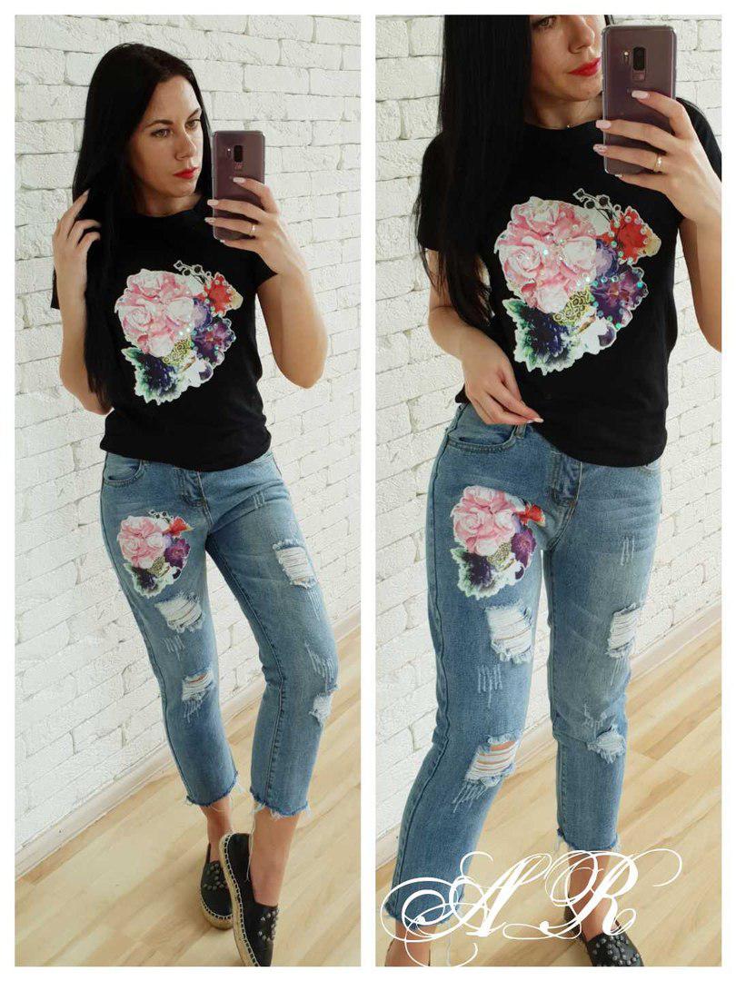 Костюм джинсы и футболка с накаткой цветок пайетка